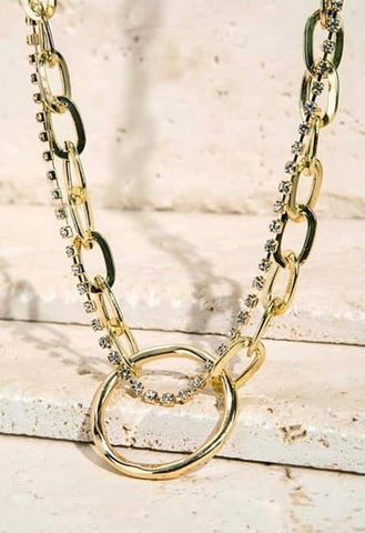 Goldtone Double Strand Link Chain Necklace