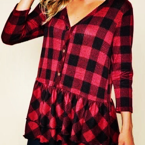 Red Buffalo Plaid Babydoll Flannel Top
