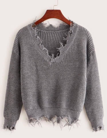 Grey V-Neck Frayed Hem Sweater