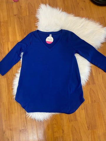 Royal Blue V Neck Tunic Top with 3/4 Sleeves