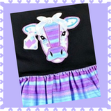 Black and Purple Striped Cow Flutter Sleeve Dress