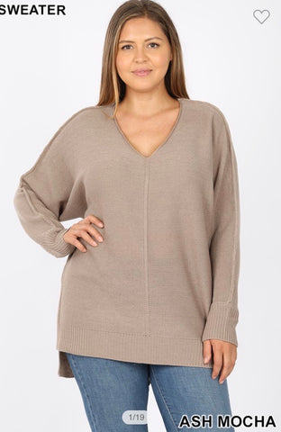 Ash Mocha Ribbed Hem V Neck Sweater