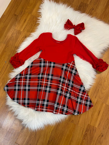Red Plaid Twirl Dress with Ruffled Sleeves