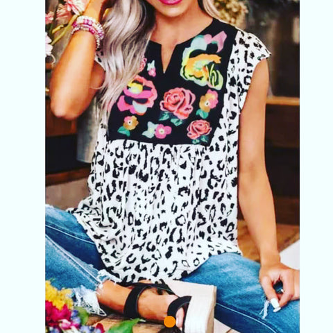 White Leopard and Floral Print Top w/Flutter Sleeves