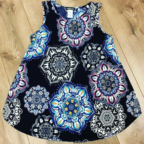 Navy Blue Medallion Print Top