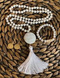 White Agate Beaded Necklace w/Large Stone and Tassel
