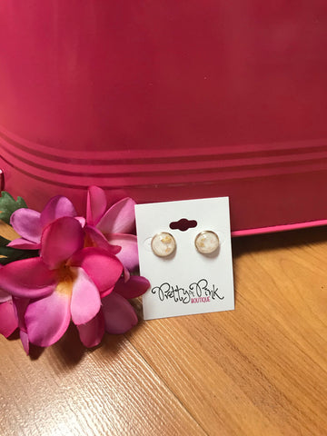White and Gold Flake Stud Earrings
