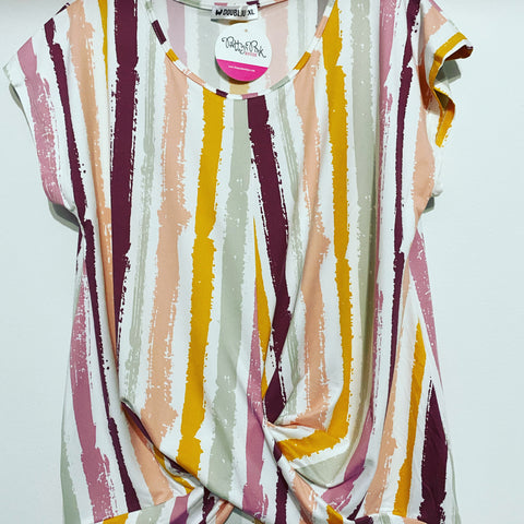 Pink/Orange/Grey Striped Top with Side Twist