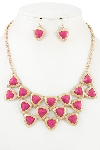 Magenta Faceted Bib Necklace