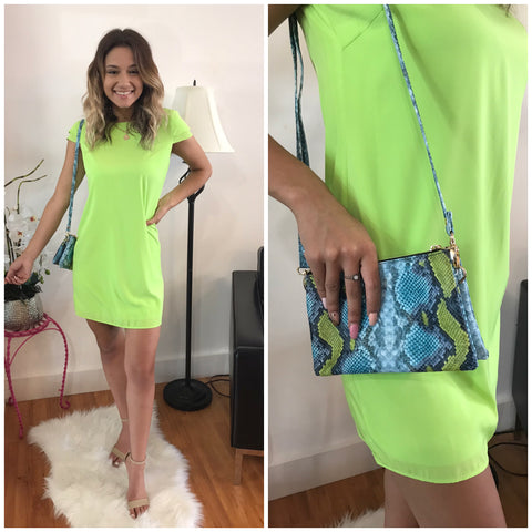 Lime Green Sheath Dress w/Flutter Sleeves