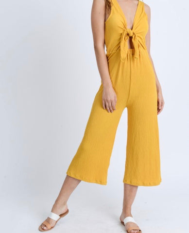 Mustard Tie Front Cropped Jumpsuit