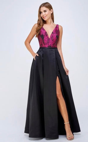 Magenta Floral And Black Prom Dress w/Side Slit