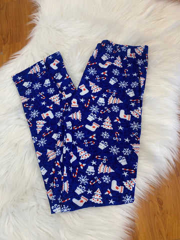 Royal Blue Candy Cane Christmas Leggings