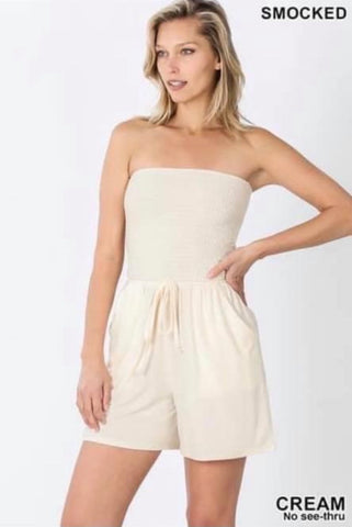 Cream Strapless Smocked Romper w/Pockets