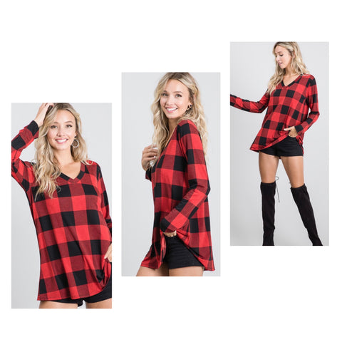 Red Buffalo Plaid V Neck Tunic Top