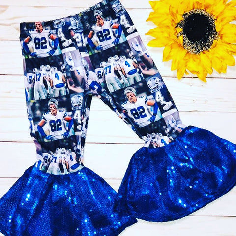 Blue Sequin Dallas Cowboys Bell Bottoms