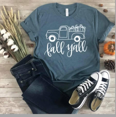 Teal Green Fall Y'All Short Sleeve Top