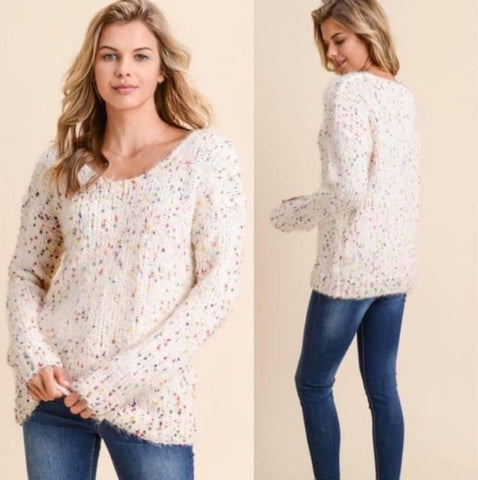 Cream Confetti Long Sleeve Sweater