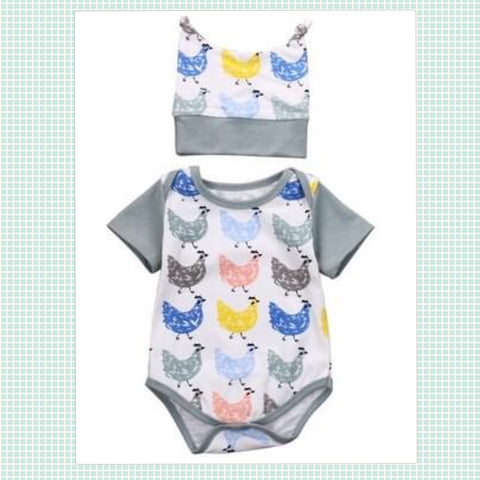 Gray Infant Chicken Romper & Hat Set