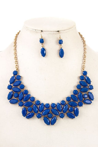 Blue Faceted Bib Necklace Set