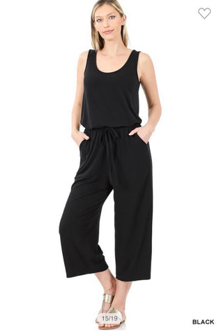 Black Sleeveless Cropped Jumpsuit w/Pockets