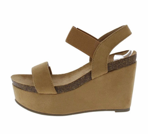 Camel Open Toe Stretch Ankle Strap Platform Wedge