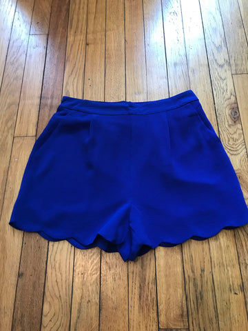 Royal Blue Scallop Shorts with Pockets