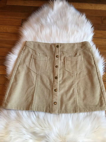 Skirt - Cream Corduroy Skirt with Pockets