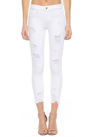 White Distressed Cropped Skinny Jeans