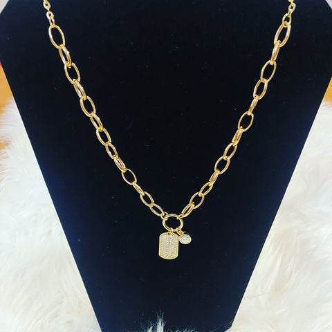 Goldtone Rhinestone Tag Link Chain Necklace