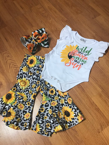 Yellow/Black 2pc Sunflower Leopard Outfit
