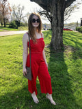 Red Lace Jumpsuit with Adjustable Straps
