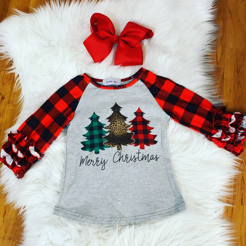 "Red Buffalo Plaid ""Merry Christmas"" Top"