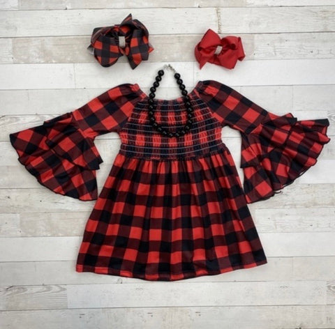 Red Buffalo Plaid Smocked Dress