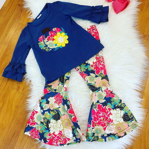 Blue Pumpkin Top w/Matching Floral Bell Bottoms