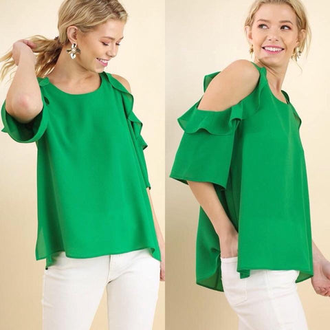 Green Cold Shoulder Ruffled Top