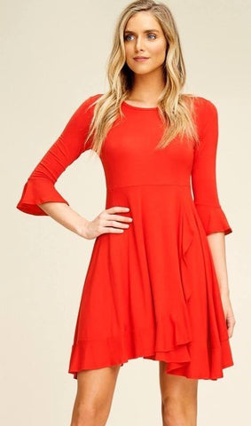 Red Ruffle Dress with 3/4 Bell Sleeves