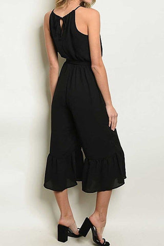 Black Jumpsuit with Ruffle Legs and Waist Tie