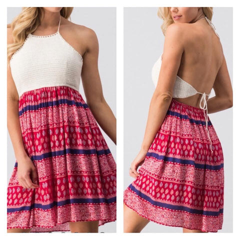 Red Print Dress w/Crochet Lined Bodice
