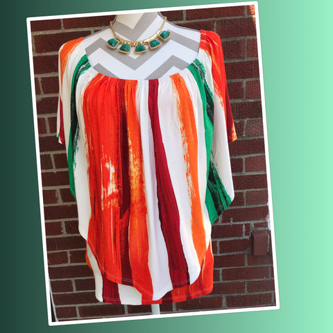 Orange & Green Striped On or Off Shoulder Top