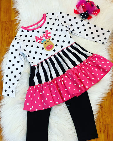 Pink/Black Polka Dot 2pc Reindeer Outfit