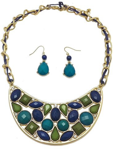 Green, Blue & Turquoise Statement Necklace Set