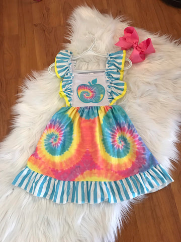 Blue Tie Dye Apple Twirl Dress