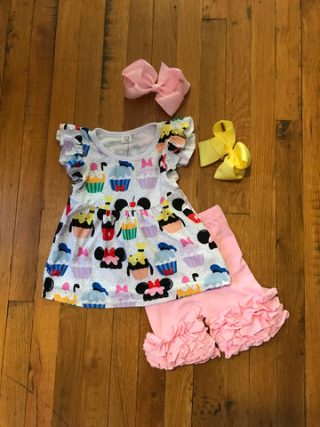 Pink Girls Disney Cupcake 2pc Tunic with matching shorts