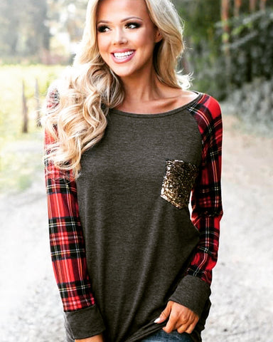 Grey/Red Plaid Sleeve Sweatshirt w/Gold Sequin Pocket