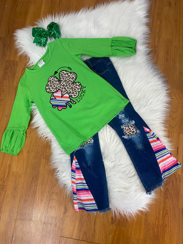 Green 2pc Clover Top and Matching Serape Pants