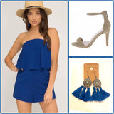 Royal Blue Strapless Romper