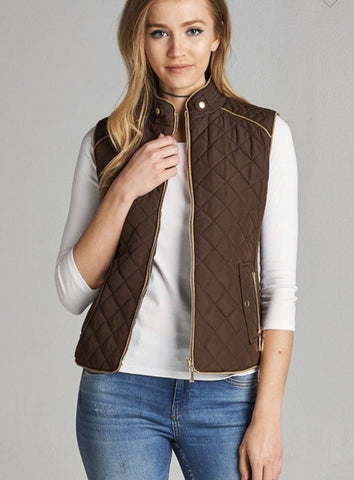 Brown Quilted Padded Vest w/Side Pockets