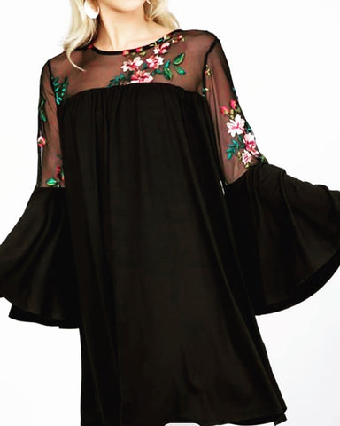 Black Curvy Plus Sheer Embroidered Dress w/ Bell Sleeves