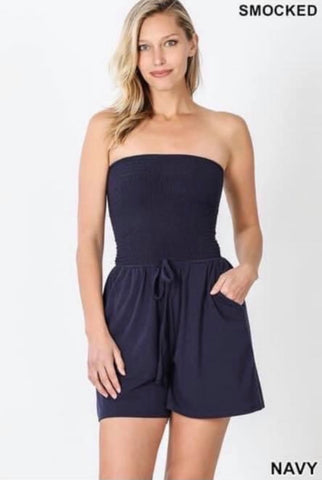 Navy Strapless Smocked Romper w/Pockets
